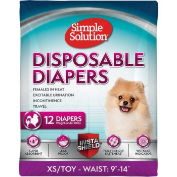 Simple Solution Disposable Diapers for female dogs, pack of 12