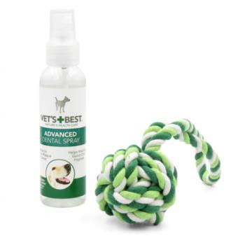 Vet's Best Dental Spray & Rope Ball Kit For Dogs