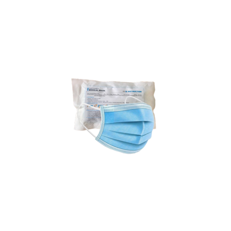 disposable face masks, packed as 50 to a box