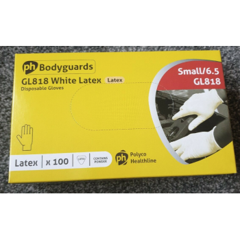 Bodyguard disposable gloves. Box of 100 latex, powdered