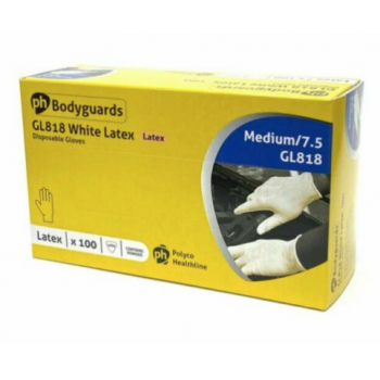 Bodyguard disposable latex gloves. Box of 100, size Medium. Powdered