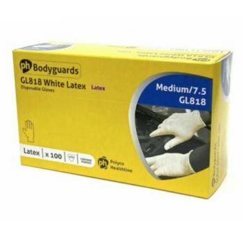 Bodyguard disposable latex gloves. Box of 100, size Medium. Powdered