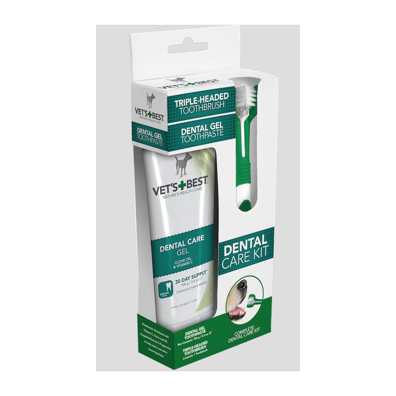 Vet's Best Dental Care Kit for Dogs - gel + brush