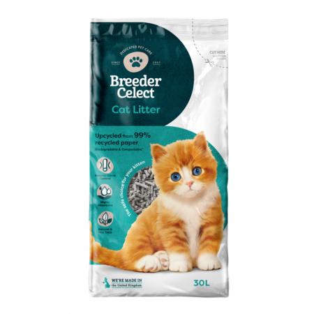 Breeder Celect cat litter - recycled paper pellets 30lt