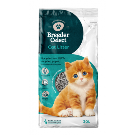 Breeder Celect cat litter - recycled paper pellets 30lt x 2