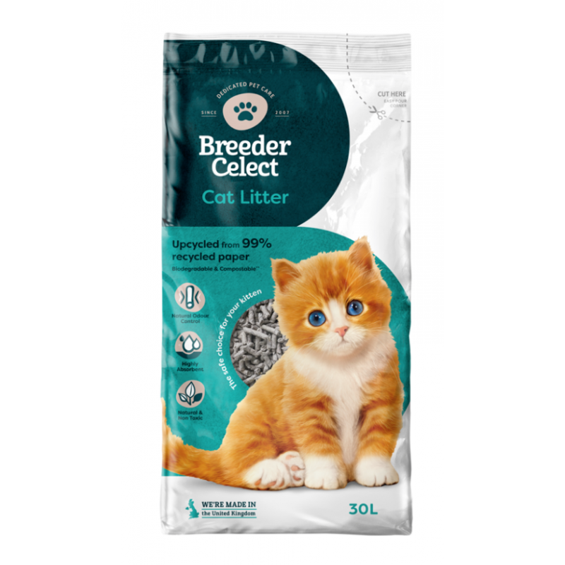 Breeder Celect cat litter more than 99% recycled paper, made in the UK